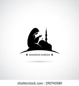 Muslim woman praying symbol - vector illustration