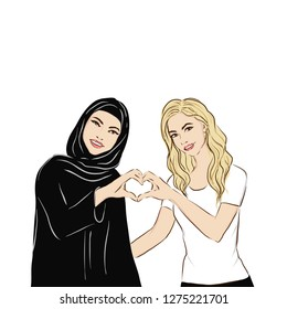 Muslim woman in traditional dress smiling together  with blonde woman. International friendship. International womens day illustration. Sisterhood. Vector.
