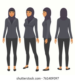 muslim woman, vector arab business character,  saudi cartoon businesswoman