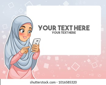 Muslim woman wearing headscarf hijab hand touching a smart phone by pointing with her finger cartoon character design, against blue pink background, vector illustration.