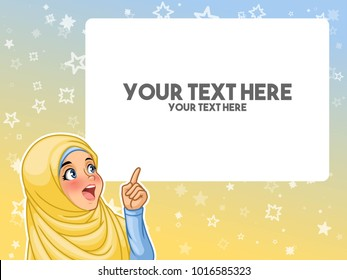 Muslim woman wearing headscarf hijab excited pointing finger up at blank copyspace cartoon character design, against blue yellow background, vector illustration.