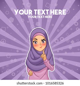 Muslim woman wearing headscarf hijab with a raised hand with finger up cartoon character design, against purple background, vector illustration.