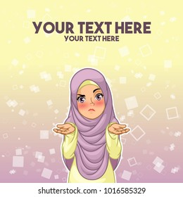 Muslim woman wearing headscarf hijab shrugging her shoulders with arms out cartoon character design, against yellow purple background, saying so what, i don't know, who cares etc. vector illustration.