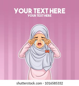 Muslim woman wearing headscarf hijab crying with hands on her face cartoon character design, against stripped background, vector illustration.