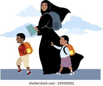 Muslim woman, wearing hijab, bringing her son and daughter to school, carrying a backpack and textbooks, EPS 8 vector illustration