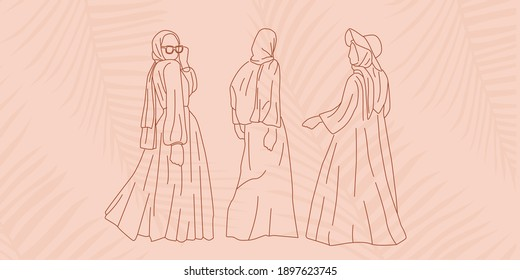 Muslim Woman Wearing Hijab for Summer Fashion Look in Simple Minimal Line Art Style perfect for Cards, Social Media Template related business. Female Muslim Summer Beach Holiday Vacation Concept.