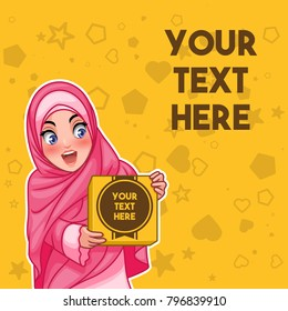 Muslim woman wearing hijab veil holding a box with text space cartoon character design, against yellow background, vector illustration.
