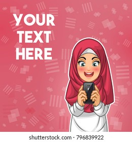 Muslim woman wearing hijab veil happy while looking her smartphone cartoon character design, against red background, vector illustration.