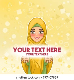 Muslim woman wearing hijab veil presenting text space cartoon character design, against yellow background, vector illustration.