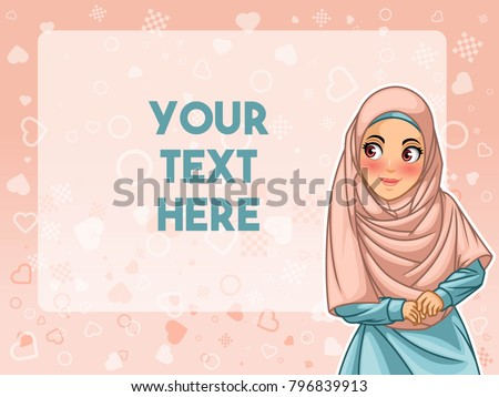 Muslim woman wearing hijab veil face looking an advertising, against pink background, vector illustration.