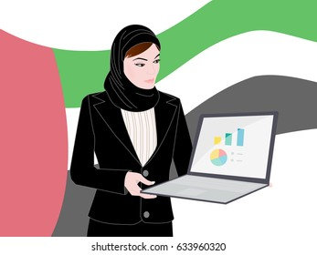 Muslim woman in workforce standing holding a laptop open with a business presentation running on screen - Muslim women in business making their mark with their intelligence - Arab women in workforce