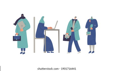 Muslim women. Business female characters isolated on white background. Flat cartoon vector illustration.