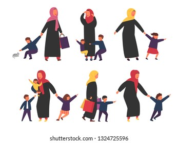 Muslim women with kids. Tired mothers with naughty children set. Vector characters illustration.