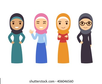 Muslim women set. Cute cartoon Arab girls in traditional dress. Businesswoman collection.