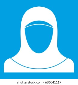 Muslim women wearing hijab icon white isolated on blue background vector illustration