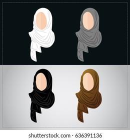 Muslim women wearing hijab set. Avatar icon and logo
