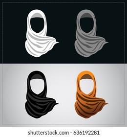 Muslim women wearing orange hijab. Avatar icon