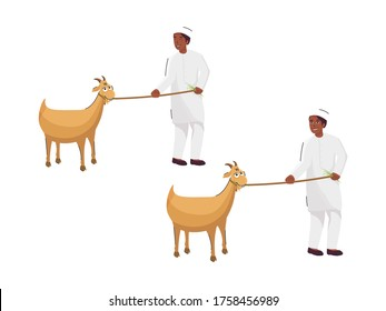 Muslim Young Boy Holding Rope Pull of Goat in Two Option on White Background.