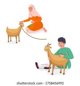 Muslim Young Girl and Boy Feeding Grass to Brown Goats on White Background.