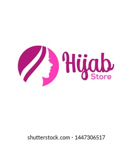 Muslimah female in hijab , woman beauty in hijab logo design, vector illustration