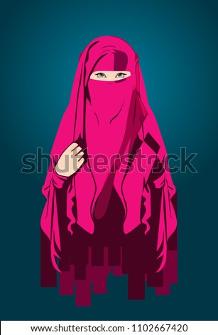 Muslimah Hijab Or Niqab Is Mean Illustration For Multitalent Women Icon Company Sport