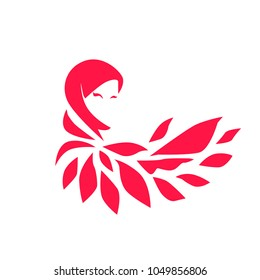 muslimah logo for hijab or scarf fashion product, muslimah has mean great women with multi talent