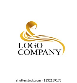 muslimah logo for hijab or scarf fashion product with gold colour, muslimah has mean great women with multi talent