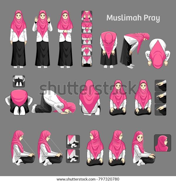 Muslimah Pray Salah How Pray Woman Stock Vector (Royalty Free) 797320780
