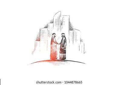 Muslims concept. Hand drawn arab persons shaking hands. Arab persons in national dress isolated vector illustration.