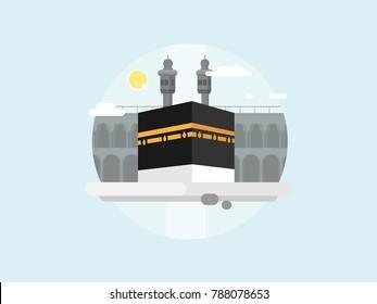 Muslims' Holy Kaaba in Mecca Saudi Arabia.   Sunrise day on Kaaba flat vector illustration.