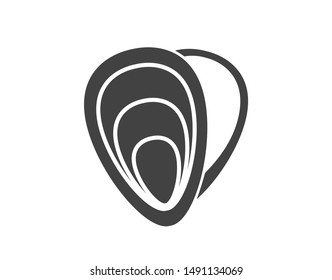 Mussel icon.  Oysters icon. Vector mussel illustration.  Seafood icon.