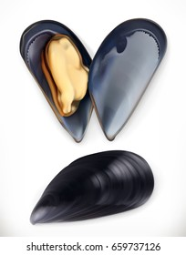 Mussels. 3d vector icon. Seafood, realism style
