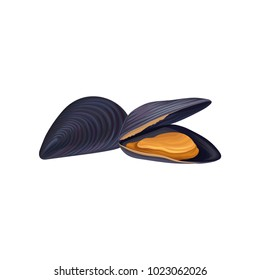 Mussels in black shell. Seafood concept. Fresh and organic product. Design for restaurant menu, promotional poster or banner. Vector icon in flat style isolated on white background.