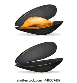 Mussels/ Illustration of a cartoon appetizing mussel, boiled with shell, full and empty