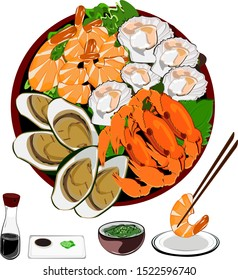 Mussels, Scallops and Crabs, Prawns, Grilled Seafood and Spicy Dipping Sauce. Asian, Thai, Japanese, Korean food.