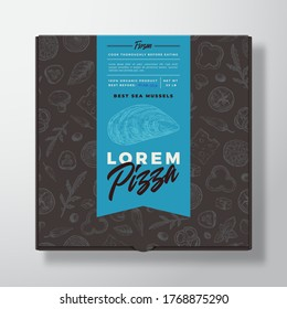 Mussels Seafood Frozen Pizza Realistic Cardboard Box. Abstract Vector Packaging Design or Label. Modern Typography, Sketch Seamless Food Pattern. Black Paper Background Layout. Isolated.