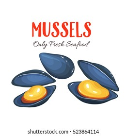 Mussels vector illustration in cartoon style. Seafood product design.