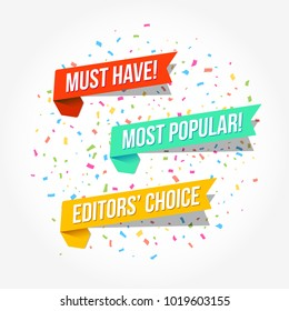 Must Have, Most Popular & Editors' Choice Tags