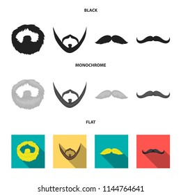 Mustache and beard, hairstyles black, flat, monochrome icons in set collection for design. Stylish haircut vector symbol stock web illustration.