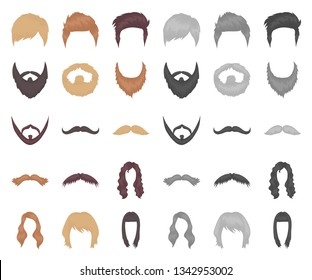 Mustache and beard, hairstyles cartoon,mono icons in set collection for design. Stylish haircut vector symbol stock web illustration.