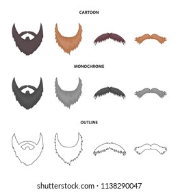 Mustache and beard, hairstyles cartoon,outline,monochrome icons in set collection for design. Stylish haircut vector symbol stock web illustration.