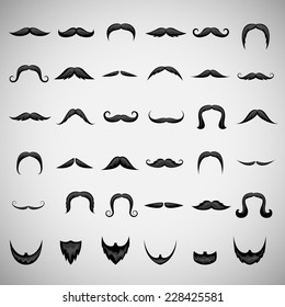 Mustache And Beard Icons Set - Isolated On Gray Background - Vector Illustration, Graphic Design Editable For Your Design