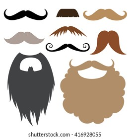 Mustache and beard party birthday photo booth props set. Vector illustration
