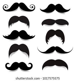 Mustache Big Set With Gradient Mesh, Vector Illustration