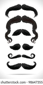 Mustache black hair set - vector illustration Shadow and background are on separate layers. Easy editing.