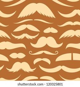 Mustache brown seamless pattern.