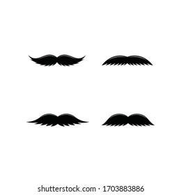 Mustache Collection Icon Set. Set of Silhouette Mustache Illustration.