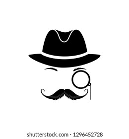 A mustache detective in a hat and with a monocle. Gentleman in a bowler cap. Sleuth vector icon.