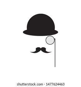A Mustache Detective In A Hat And With A Monocle. Gentleman In A Bowler Cap. Detective Vector Icon.