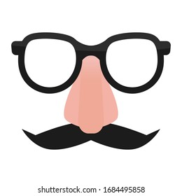 Mustache and glasses comedian props. Fun mask to hide face. isolated flat vector clipart.